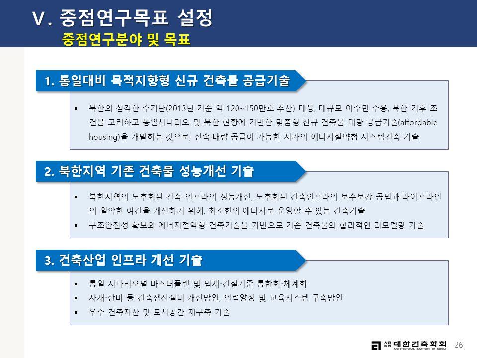 26  북한의 심각한 주거난(2013년 기준 약 120~150만호 추산) 대응, 대규모 이주민 수용, 북한 기후 조 건을 고려하고 통일시나리오 및 북한 현황에 기반한 맞춤형 신규 건축물 대량 공급기술(affordable housing)을 개발하는 것으로, 신속·대량 공급이 가능한 저가의 에너지절약형 시스템건축 기술 1.