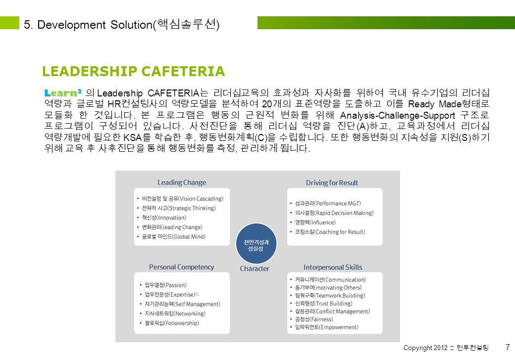 Copyright 2012 ⓒ 런투컨설팅 7 Learn 2 의 Leadership CAFETERIA 는 리더십교육의 효과성과 자사화를 위하여 국내 유수기업의 리더십 역량과 글로벌 HR 컨설팅사의 역량모델을 분석하여 20 개의 표준역량을 도출하고 이를 Ready Made 형태로 모듈화 한 것입니다.