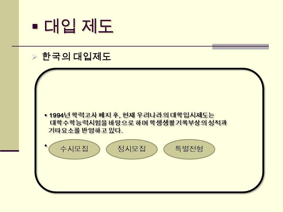  대입 제도  한국의 대입제도  1994 년 학력고사 폐지 후, 현재 우리나라의 대학입시제도는 대학수학능력시험을 바탕으로 하며 학생생활기록부상의 성적과 기타요소를 반영하고 있다.
