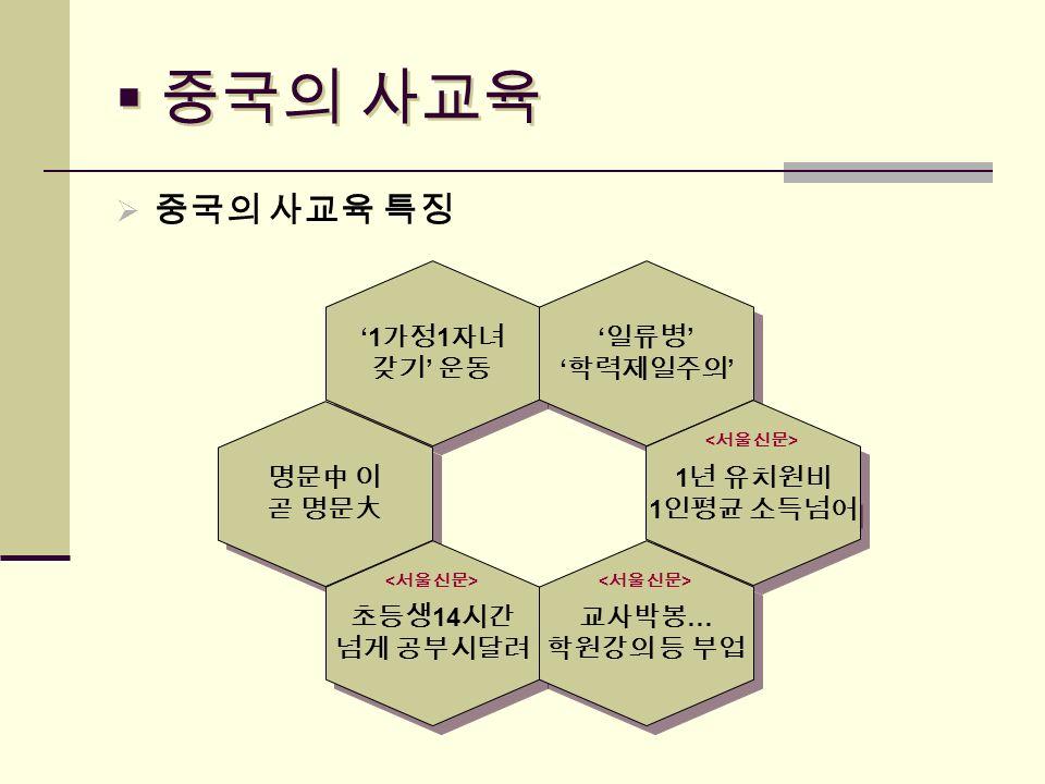  중국의 사교육  중국의 사교육 특징