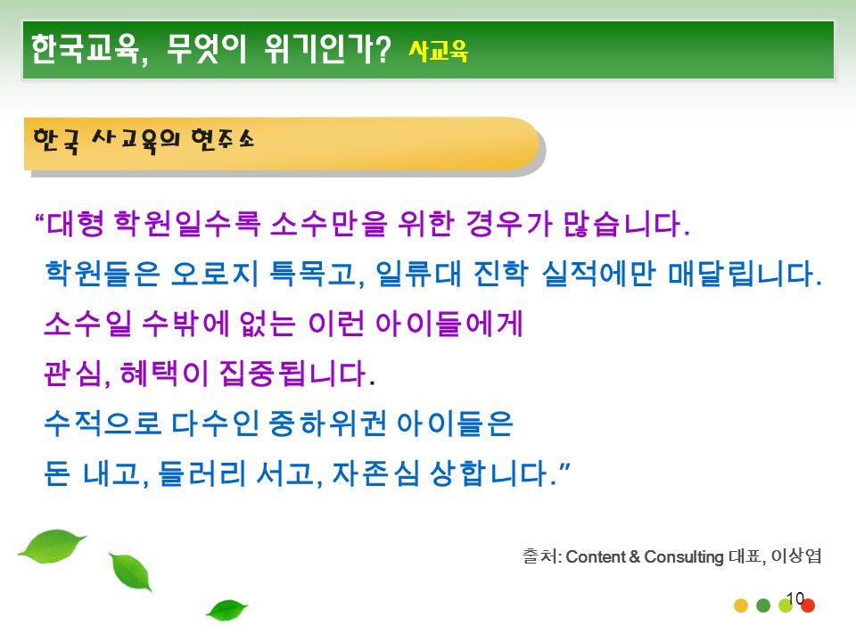 10 한국교육, 무엇이 위기인가. 사교육 대형 학원일수록 소수만을 위한 경우가 많습니다.