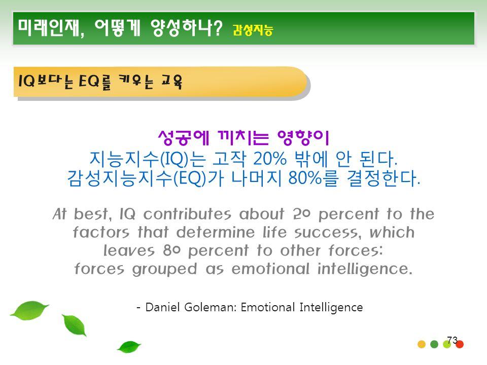 73 미래인재, 어떻게 양성하나. 감성지능 성공에 끼치는 영향이 지능지수(IQ)는 고작 20% 밖에 안 된다.