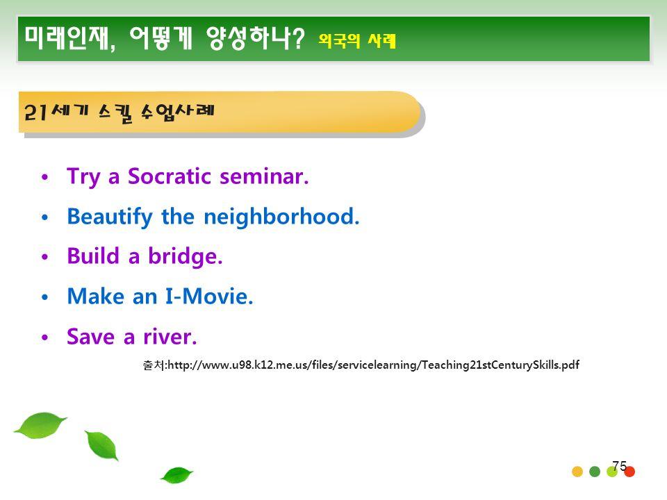 75 미래인재, 어떻게 양성하나. 외국의 사례 Try a Socratic seminar.