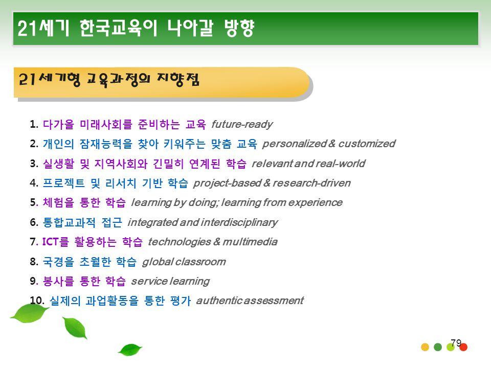 79 21세기 한국교육이 나아갈 방향 1. 다가올 미래사회를 준비하는 교육 future-ready 2.