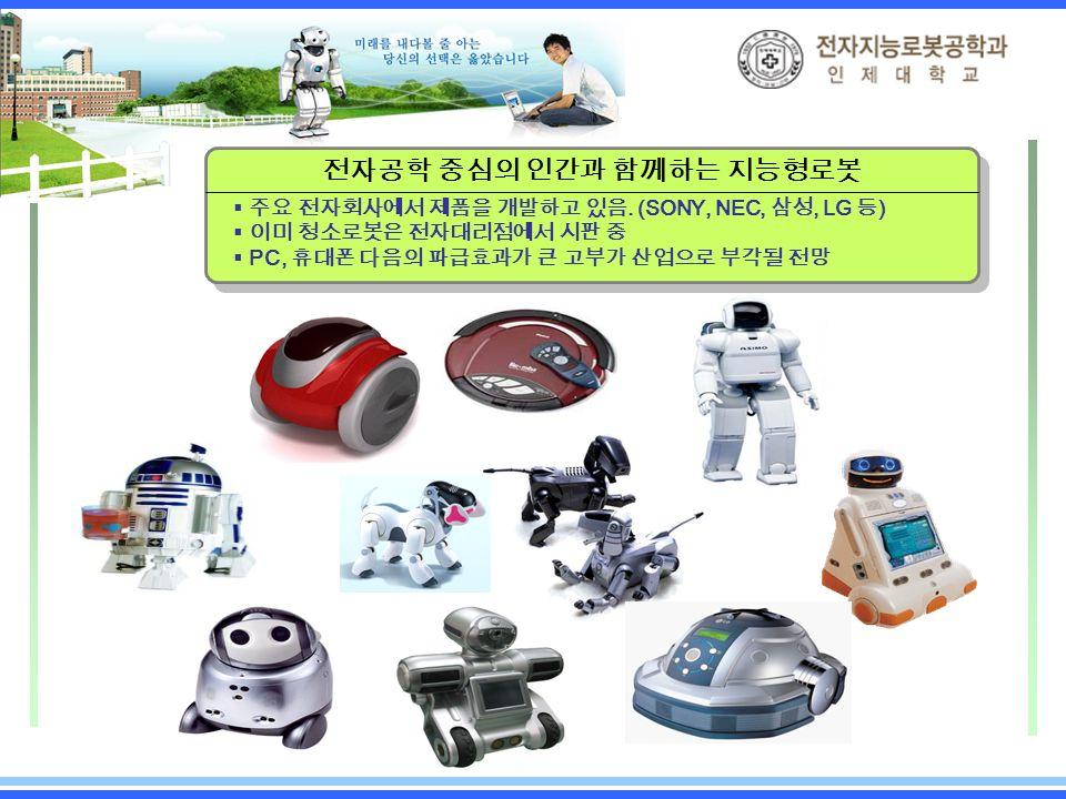 전자공학 중심의 인간과 함께하는 지능형로봇  주요 전자회사에서 제품을 개발하고 있음.