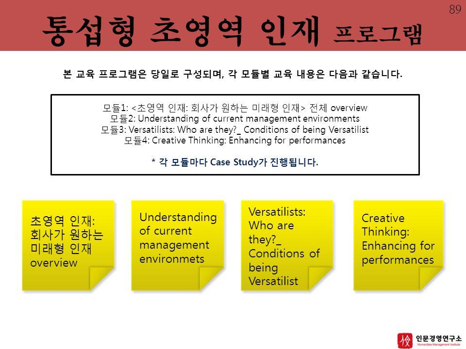 모듈1: 전체 overview 모듈2: Understanding of current management environments 모듈3: Versatilists: Who are they _ Conditions of being Versatilist 모듈4: Creative Thinking: Enhancing for performances * 각 모듈마다 Case Study가 진행됩니다.