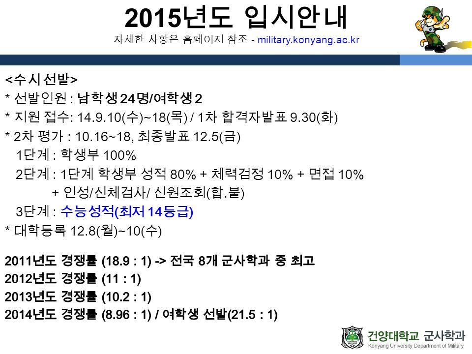 2015 년도 입시안내 자세한 사항은 홈페이지 참조 - military.konyang.ac.kr * 선발인원 : 남학생 24 명 / 여학생 2 * 지원 접수 : 14.9.10( 수 )~18( 목 ) / 1 차 합격자발표 9.30( 화 ) * 2 차 평가 : 10.16~18, 최종발표 12.5( 금 ) 1 단계 : 학생부 100% 2 단계 : 1 단계 학생부 성적 80% + 체력검정 10% + 면접 10% + 인성 / 신체검사 / 신원조회 ( 합․불 ) 3 단계 : 수능성적 ( 최저 14 등급 ) * 대학등록 12.8( 월 )~10( 수 )