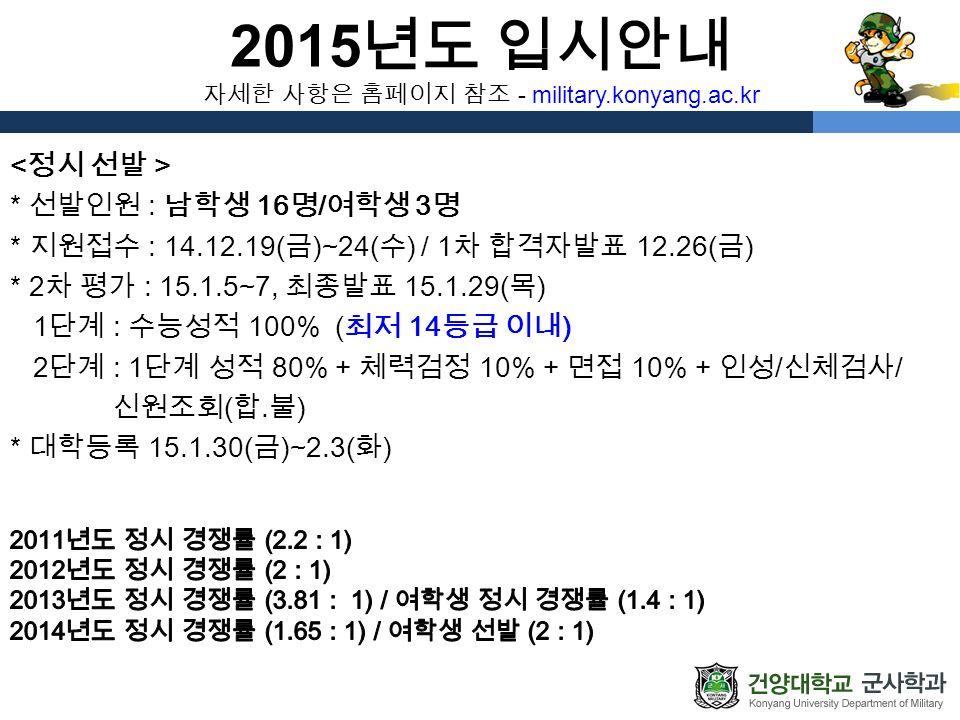 2015 년도 입시안내 자세한 사항은 홈페이지 참조 - military.konyang.ac.kr * 선발인원 : 남학생 16 명 / 여학생 3 명 * 지원접수 : 14.12.19( 금 )~24( 수 ) / 1 차 합격자발표 12.26( 금 ) * 2 차 평가 : 15.1.5~7, 최종발표 15.1.29( 목 ) 1 단계 : 수능성적 100% ( 최저 14 등급 이내 ) 2 단계 : 1 단계 성적 80% + 체력검정 10% + 면접 10% + 인성 / 신체검사 / 신원조회 ( 합․불 ) * 대학등록 15.1.30( 금 )~2.3( 화 )