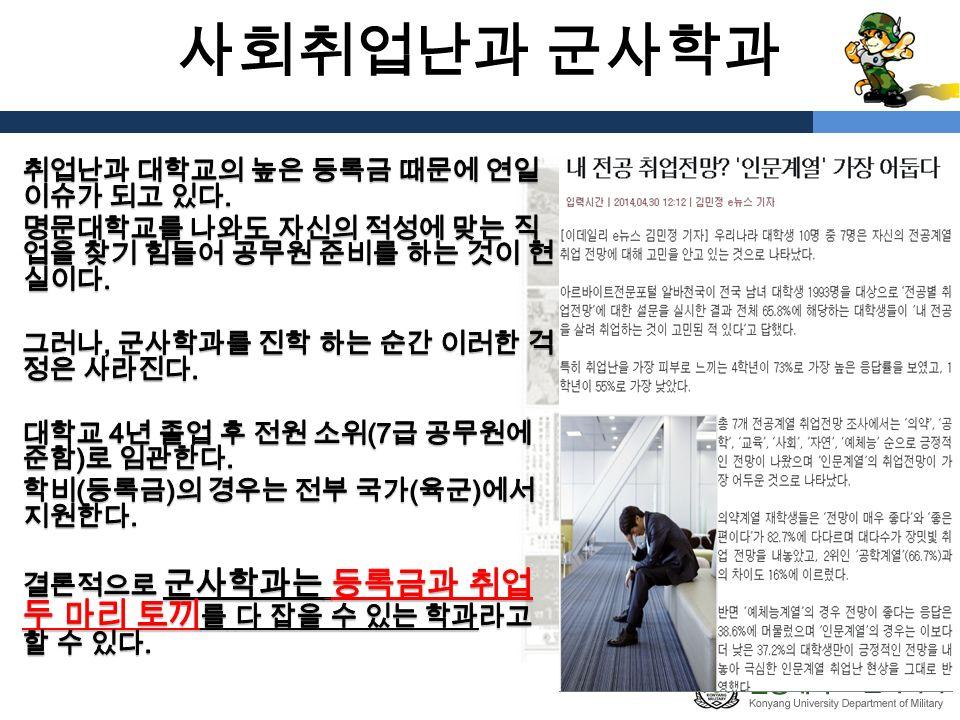 사회취업난과 군사학과
