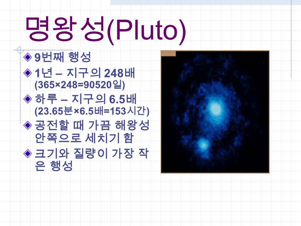 명왕성 (Pluto) 9 번째 행성 1 년 – 지구의 248 배 (365×248=90520 일 ) 하루 – 지구의 6.5 배 (23.65 분 ×6.5 배 =153 시간 ) 공전할 때 가끔 해왕성 안쪽으로 세치기 함 크기와 질량이 가장 작 은 행성