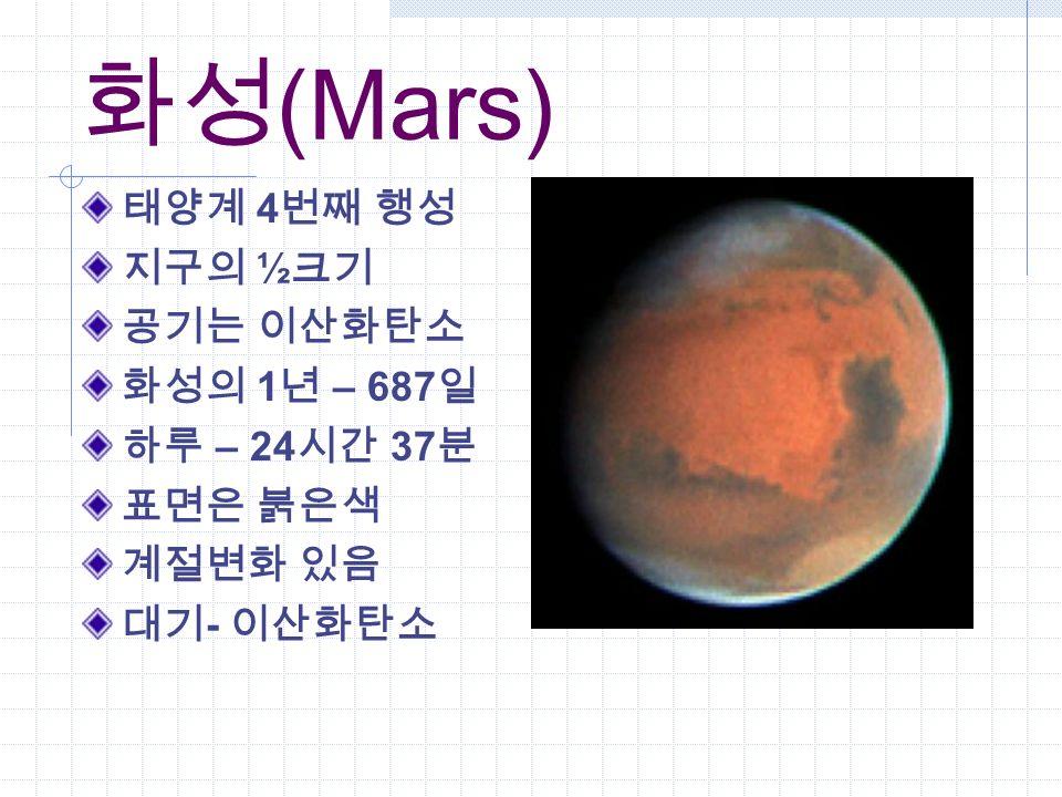 화성 (Mars) 태양계 4 번째 행성 지구의 ½ 크기 공기는 이산화탄소 화성의 1 년 – 687 일 하루 – 24 시간 37 분 표면은 붉은색 계절변화 있음 대기 - 이산화탄소