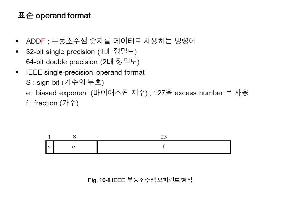 표준 operand format  ADDF ; 부동소수점 숫자를 데이터로 사용하는 명령어  32-bit single precision (1 배 정밀도 ) 64-bit double precision (2 배 정밀도 )  IEEE single-precision operand format S : sign bit ( 가수의 부호 ) e : biased exponent ( 바이어스된 지수 ) ; 127 을 excess number 로 사용 f : fraction ( 가수 ) Fig.
