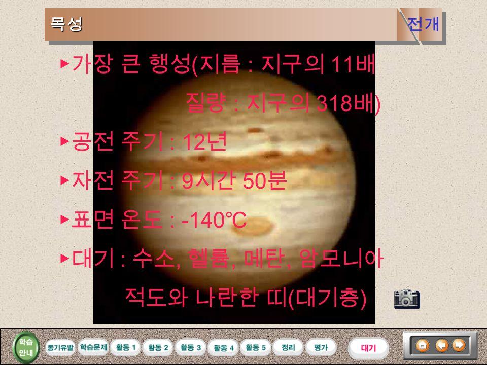 화성화성 ▶공전 주기 : 688 일 ▶자전 주기 : 24 시간 37 분 ▶표면 온도 : 20 ℃ ∼ -70 ℃ ▶대기 : 주로 이산화탄소, 소량의 물, 산소 ▶표면 : 사막 (3/4), 바다 ( 물이 없는 바다 극관 ( 이산화탄소와 물이 얼어 있다 ) 전개