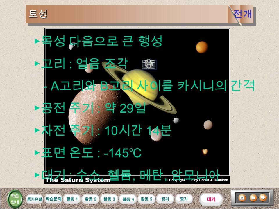 목성목성 ▶가장 큰 행성 ( 지름 : 지구의 11 배 질량 : 지구의 318 배 ) ▶공전 주기 : 12 년 ▶자전 주기 : 9 시간 50 분 ▶표면 온도 : -140 ℃ ▶대기 : 수소, 헬륨, 메탄, 암모니아 적도와 나란한 띠 ( 대기층 ) 전개
