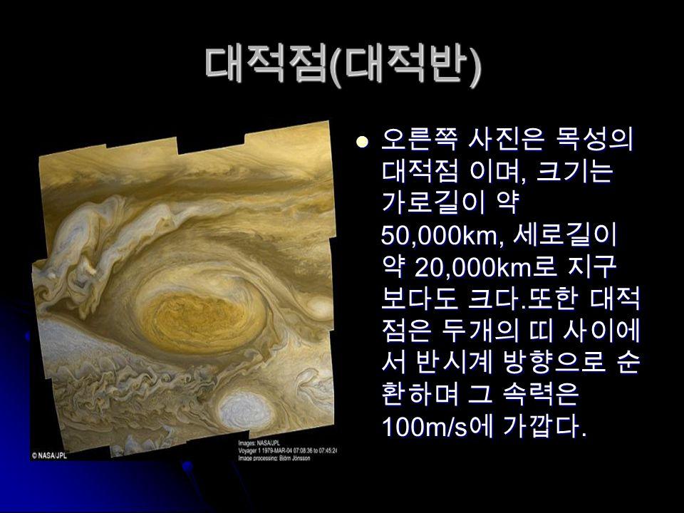 대적점 ( 대적반 ) 오른쪽 사진은 목성의 대적점 이며, 크기는 가로길이 약 50,000km, 세로길이 약 20,000km 로 지구 보다도 크다.