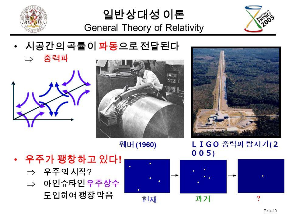 Paik-10 일반상대성 이론 General Theory of Relativity 시공간의 곡률이 파동으로 전달된다  중력파 우주가 팽창하고 있다 .