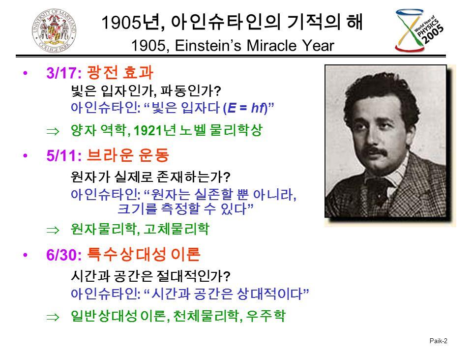 Paik-2 1905 년, 아인슈타인의 기적의 해 1905, Einstein's Miracle Year 3/17: 광전 효과 빛은 입자인가, 파동인가 .