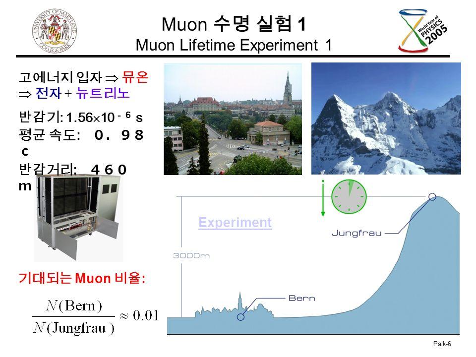 Paik-6 Muon 수명 실험 1 Muon Lifetime Experiment 1 기대되는 Muon 비율 : Experiment 고에너지 입자  뮤온  전자 + 뉴트리노 반감기 : 1.56  10 -6 s 평균 속도 : 0.98 c 반감거리 : 460 m