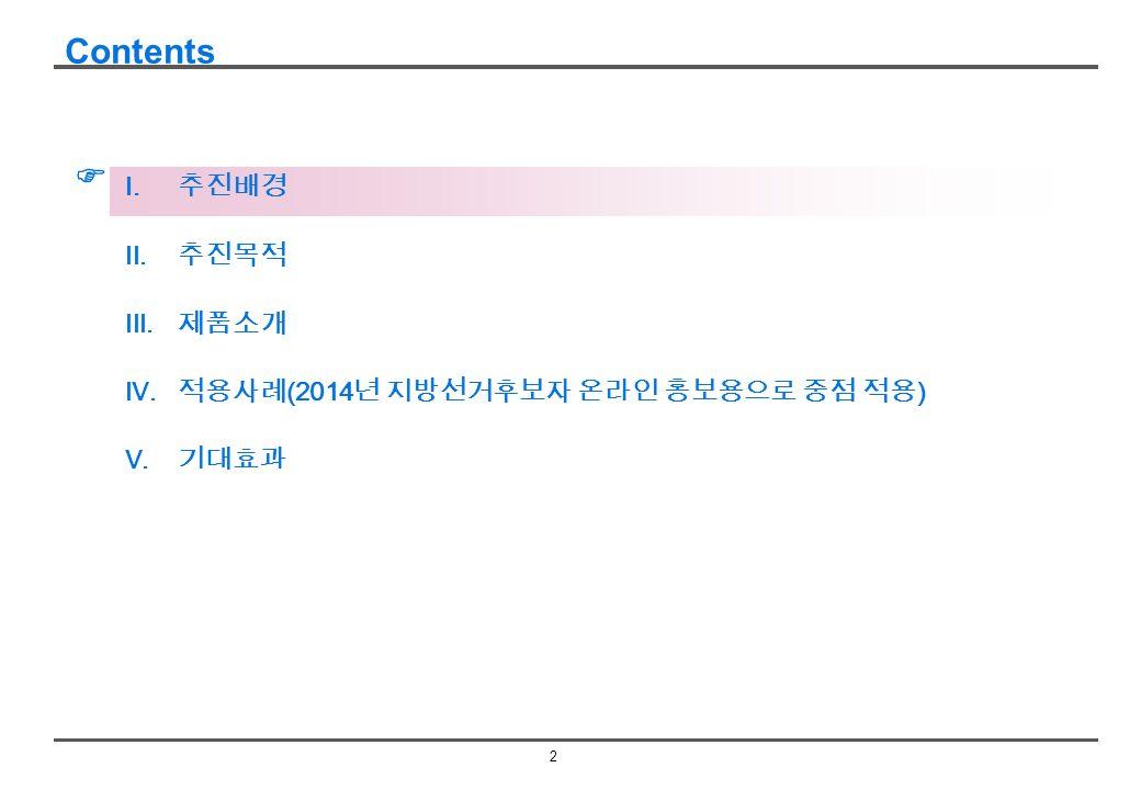 2 Contents   추진배경  추진목적  제품소개  적용사례 (2014 년 지방선거후보자 온라인 홍보용으로 중점 적용 )  기대효과
