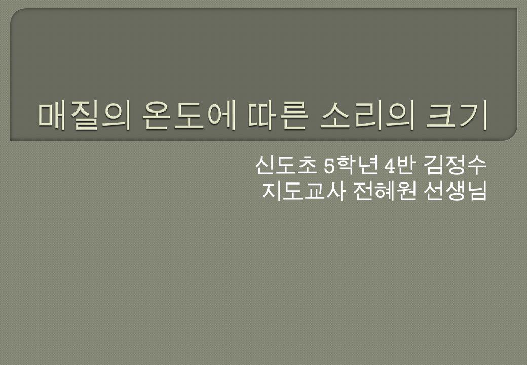 신도초 5 학년 4 반 김정수 지도교사 전혜원 선생님