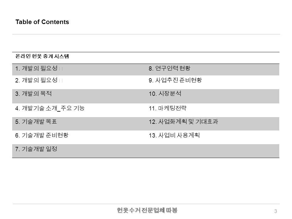 Table of Contents 3 온라인 헌옷 중개 시스템 1. 개발의 필요성 Ⅰ 8.