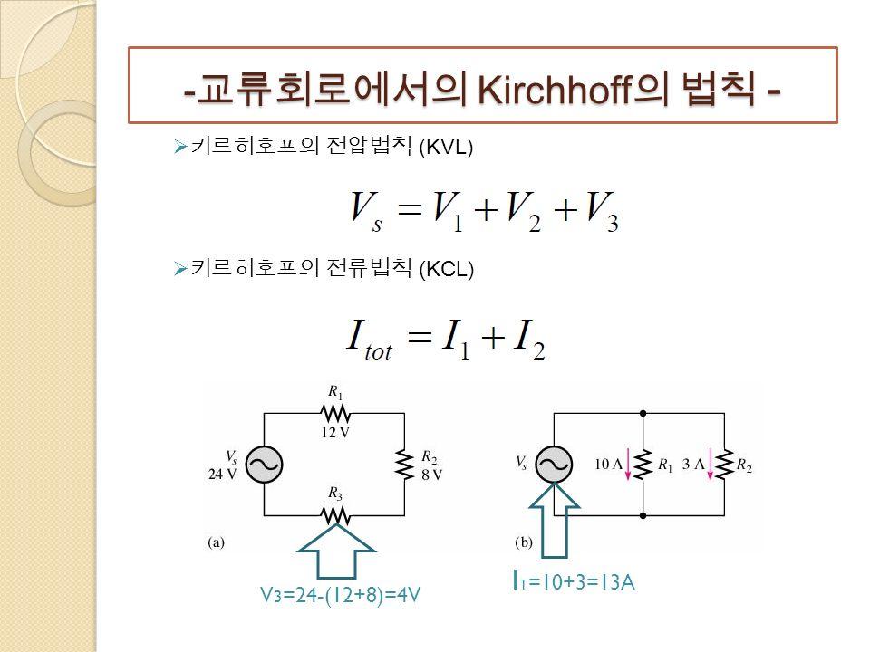 - 교류회로에서의 Kirchhoff 의 법칙 -  키르히호프의 전압법칙 (KVL)  키르히호프의 전류법칙 (KCL) V 3 =24-(12+8)=4V I T =10+3=13A