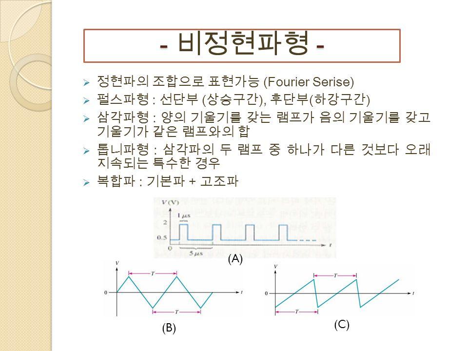 - - - 비정현파형 -  정현파의 조합으로 표현가능 (Fourier Serise)  펄스파형 : 선단부 ( 상승구간 ), 후단부 ( 하강구간 )  삼각파형 : 양의 기울기를 갖는 램프가 음의 기울기를 갖고 기울기가 같은 램프와의 합  톱니파형 : 삼각파의 두 램프 중 하나가 다른 것보다 오래 지속되는 특수한 경우  복합파 : 기본파 + 고조파 (A) (B) (C)