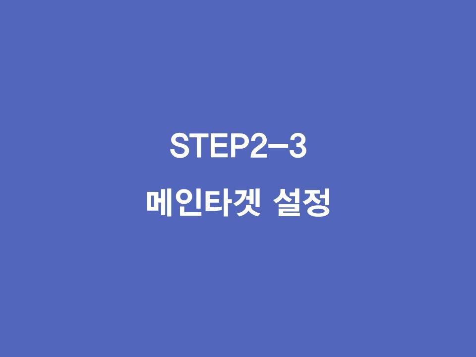 STEP2-3 메인타겟 설정