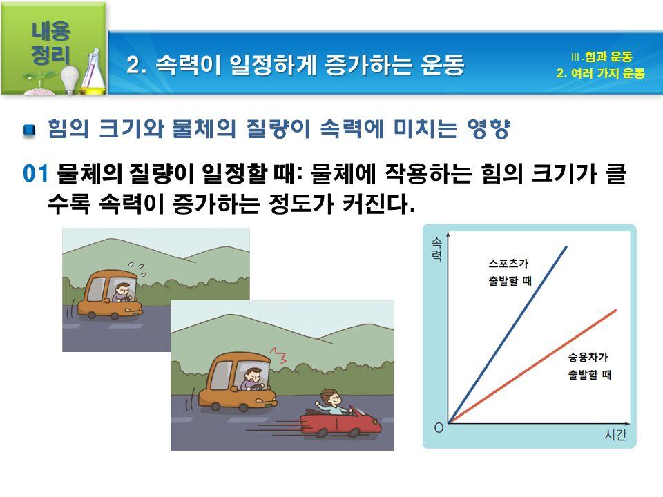 내용정리 01 물체의 질량이 일정할 때: 물체에 작용하는 힘의 크기가 클 수록 속력이 증가하는 정도가 커진다.
