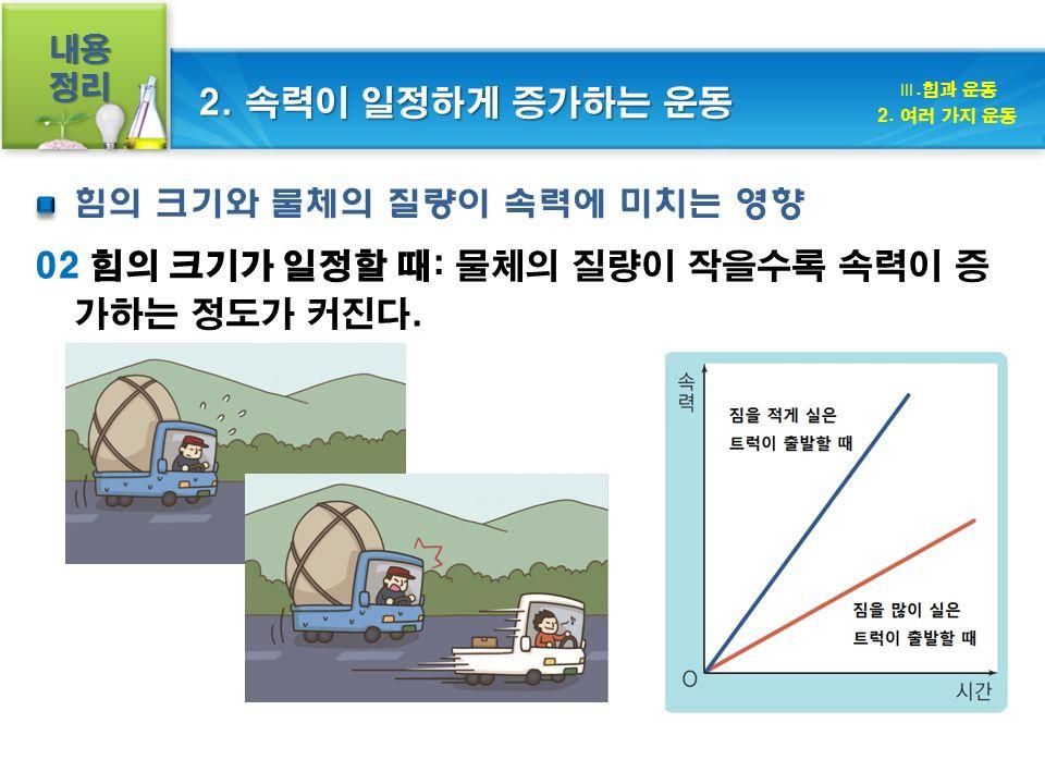 내용정리 02 힘의 크기가 일정할 때: 물체의 질량이 작을수록 속력이 증 가하는 정도가 커진다.