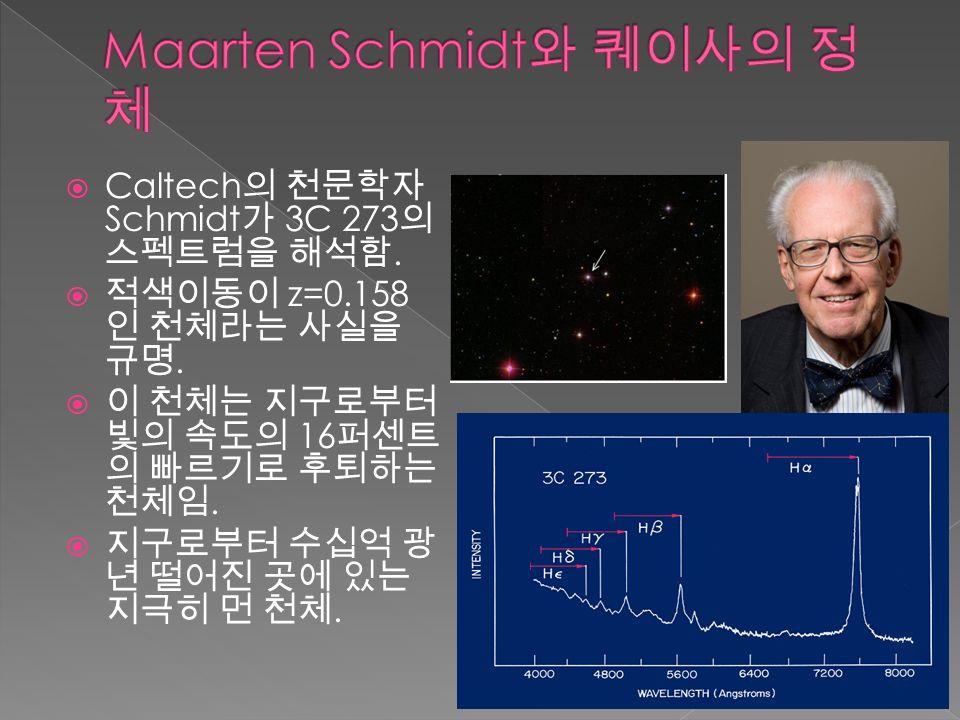  Caltech 의 천문학자 Schmidt 가 3C 273 의 스펙트럼을 해석함.  적색이동이 z=0.158 인 천체라는 사실을 규명.