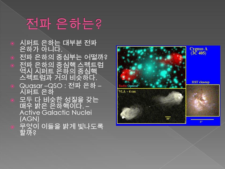 시퍼트 은하는 대부분 전파 은하가 아니다.  전파 은하의 중심부는 어떨까 .  전파 은하의 중심핵 스펙트럼 역시 시퍼트 은하의 중심핵 스펙트럼과 거의 비슷하다.