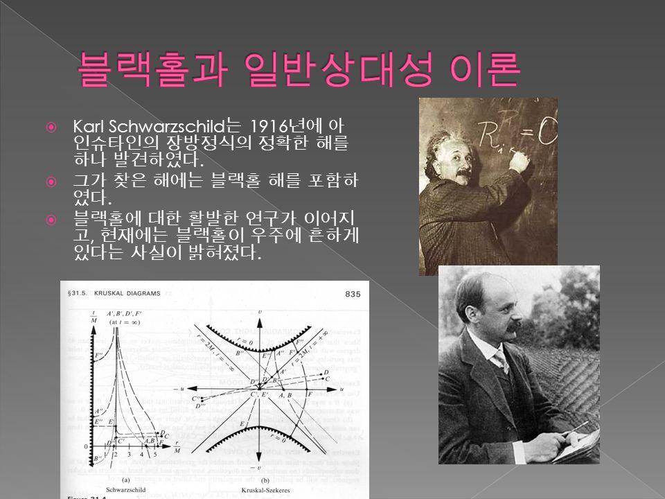  Karl Schwarzschild 는 1916 년에 아 인슈타인의 장방정식의 정확한 해를 하나 발견하였다.