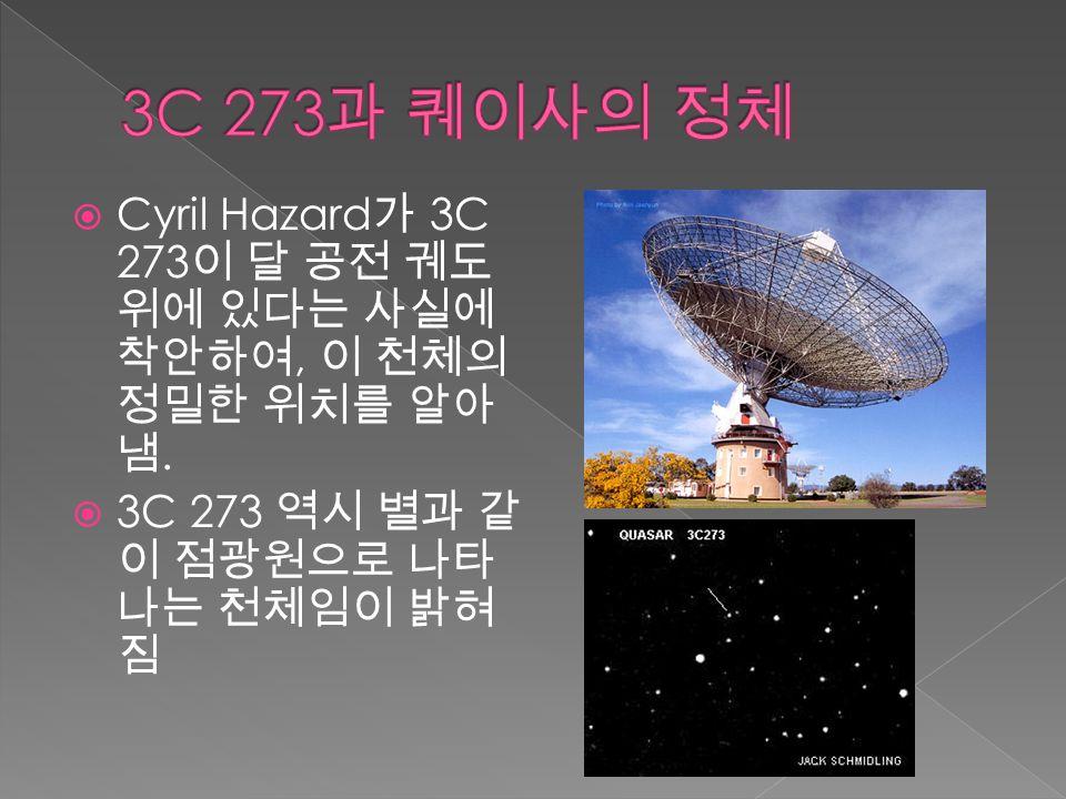  Cyril Hazard 가 3C 273 이 달 공전 궤도 위에 있다는 사실에 착안하여, 이 천체의 정밀한 위치를 알아 냄.