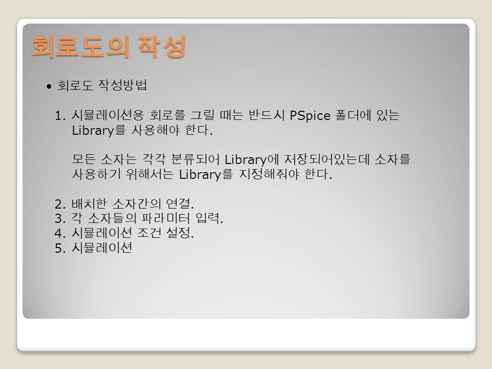 회로도의 작성 회로도 작성방법 1. 시뮬레이션용 회로를 그릴 때는 반드시 PSpice 폴더에 있는 Library 를 사용해야 한다.