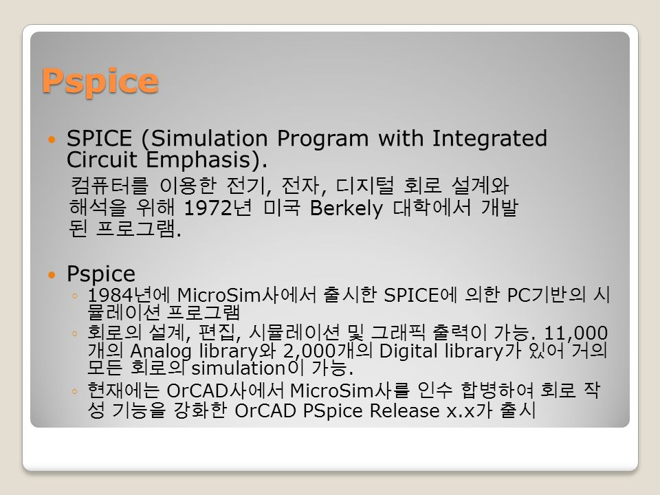 Pspice SPICE (Simulation Program with Integrated Circuit Emphasis).