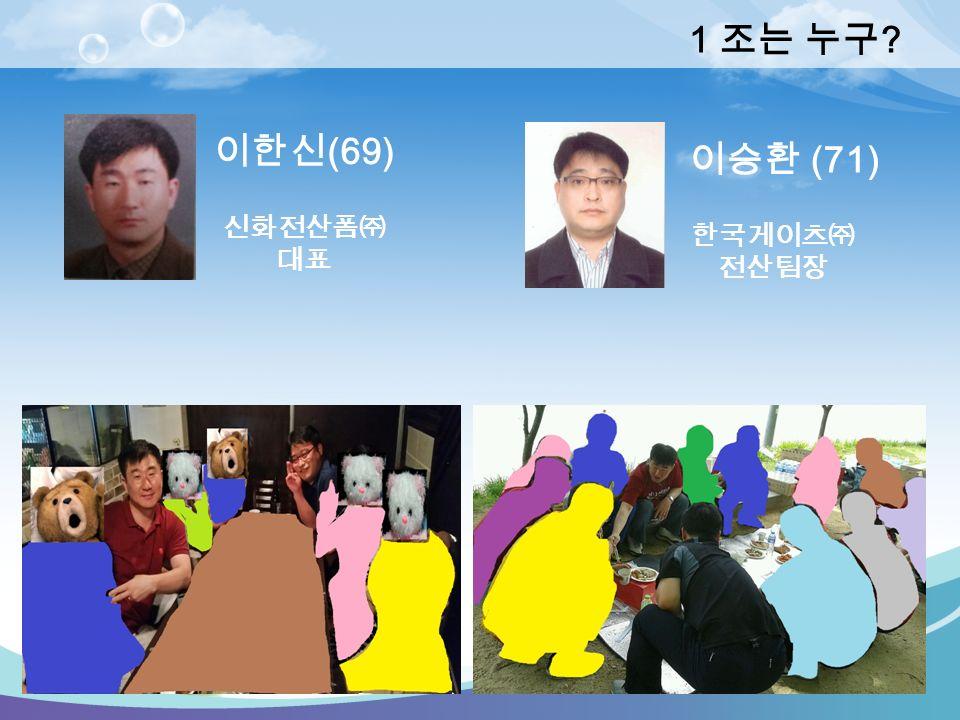 1 조는 누구 이한신 (69) 이승환 (71) 신화전산폼㈜ 대표 한국게이츠㈜ 전산팀장