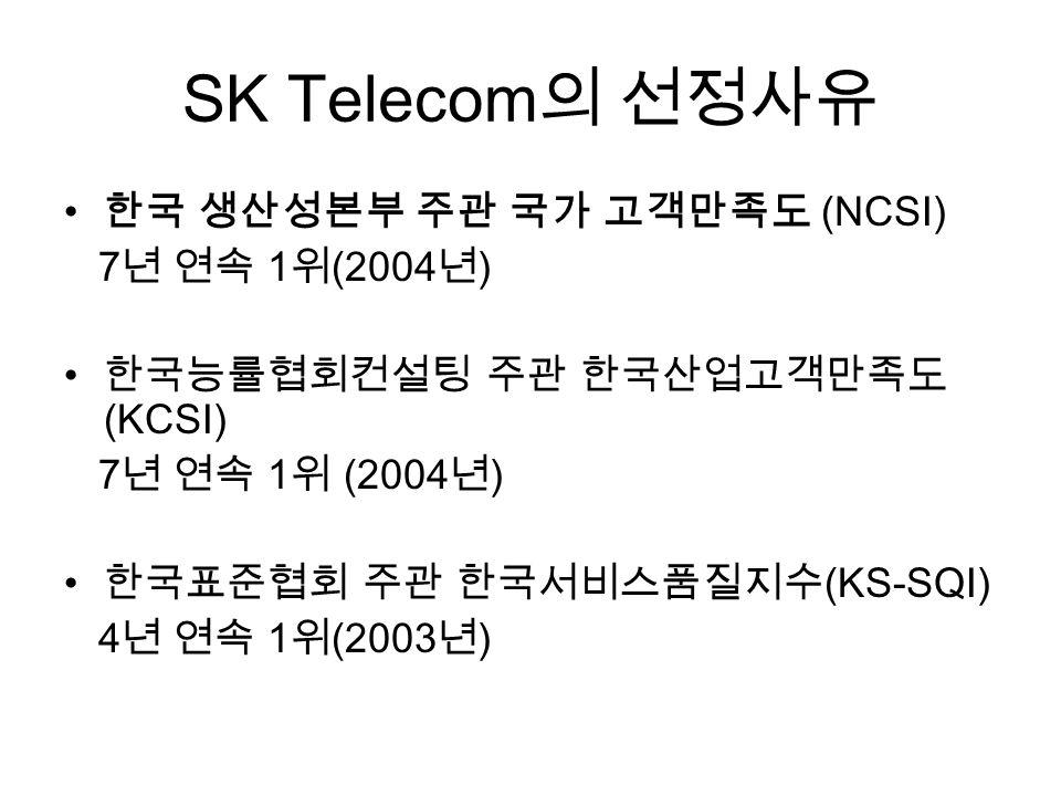 SK Telecom 의 선정사유 한국 생산성본부 주관 국가 고객만족도 (NCSI) 7 년 연속 1 위 (2004 년 ) 한국능률협회컨설팅 주관 한국산업고객만족도 (KCSI) 7 년 연속 1 위 (2004 년 ) 한국표준협회 주관 한국서비스품질지수 (KS-SQI) 4 년 연속 1 위 (2003 년 )
