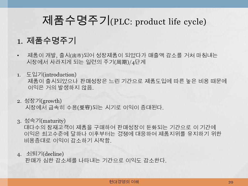 현대경영의 이해 20 제품수명주기 (PLC: product life cycle) 1.