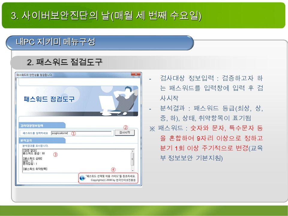 3. 사이버보안진단의 날 ( 매월 세 번째 수요일 ) 내 PC 지키미 메뉴구성 2.