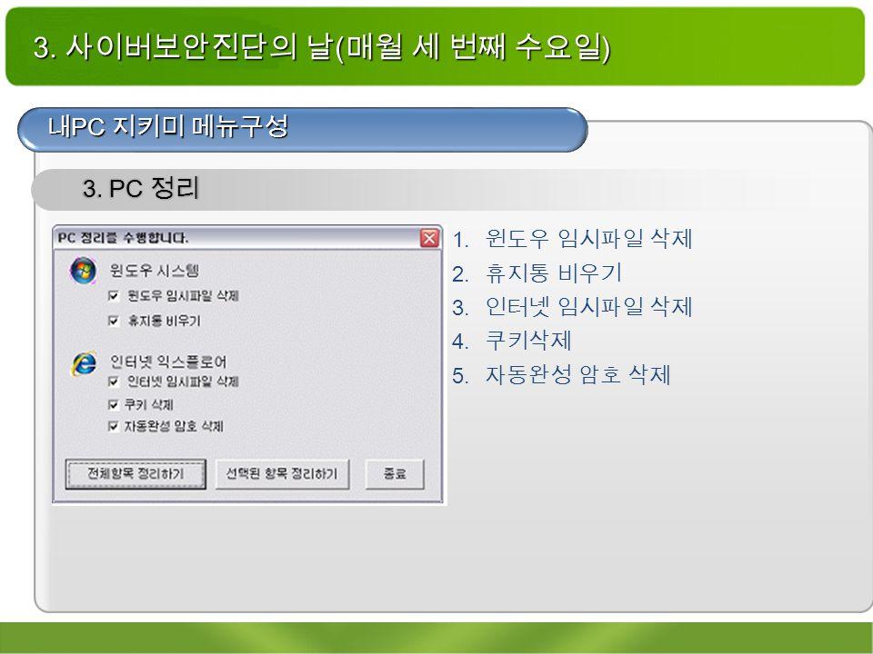 3. 사이버보안진단의 날 ( 매월 세 번째 수요일 ) 내 PC 지키미 메뉴구성 3. PC 정리 1.