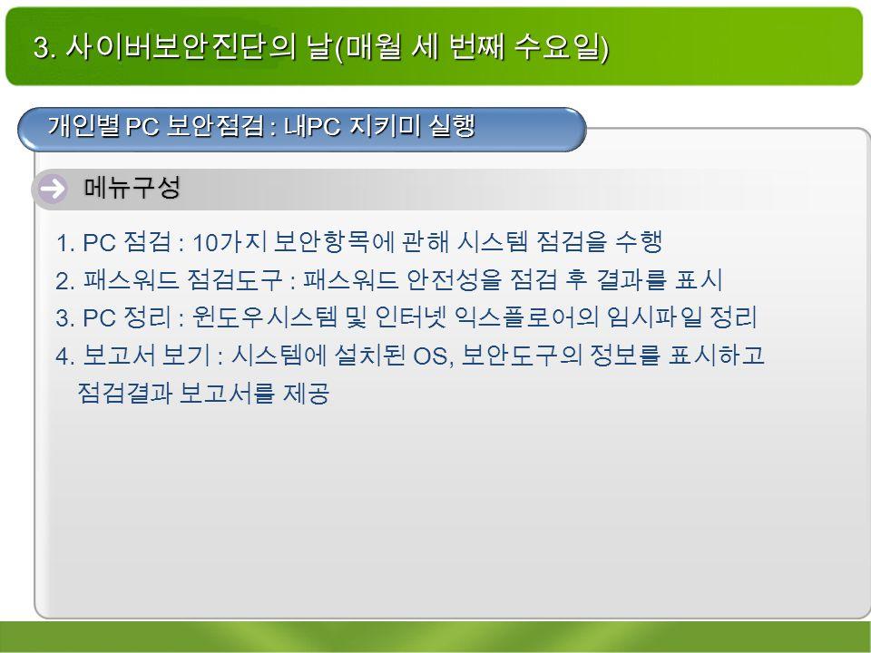 3. 사이버보안진단의 날 ( 매월 세 번째 수요일 ) 개인별 PC 보안점검 : 내 PC 지키미 실행 메뉴구성 1.