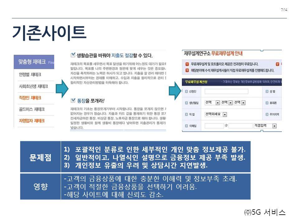 기존사이트 7 / 14 문제점 1) 포괄적인 분류로 인한 세부적인 개인 맞춤 정보제공 불가.