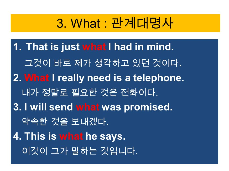 3. What : 관계대명사 1.That is just what I had in mind.