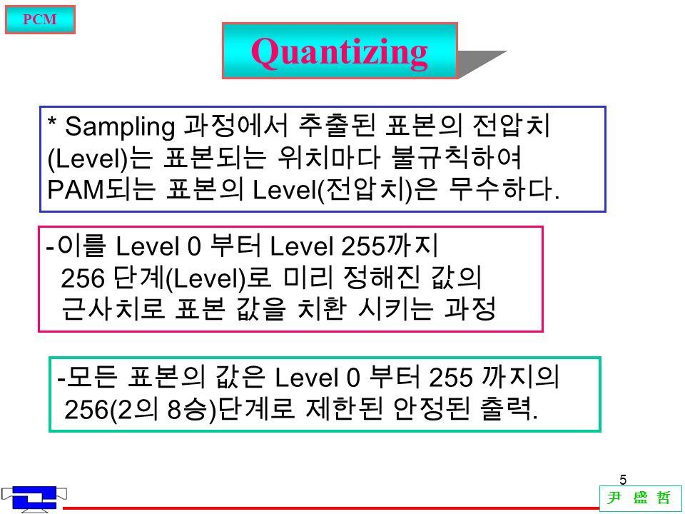 5 Quantizing PCM 尹 盛 哲 * Sampling 과정에서 추출된 표본의 전압치 (Level) 는 표본되는 위치마다 불규칙하여 PAM 되는 표본의 Level( 전압치 ) 은 무수하다.
