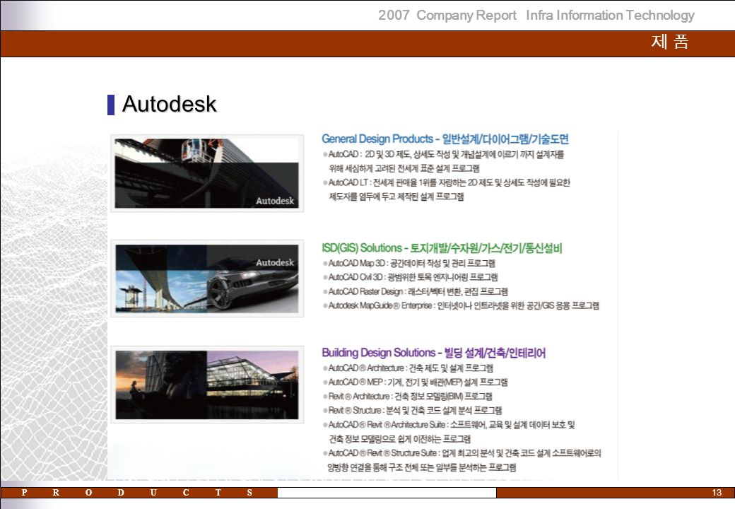2007 Company Report Infra Information Technology 13 제 품제 품 Autodesk PRODUCTS