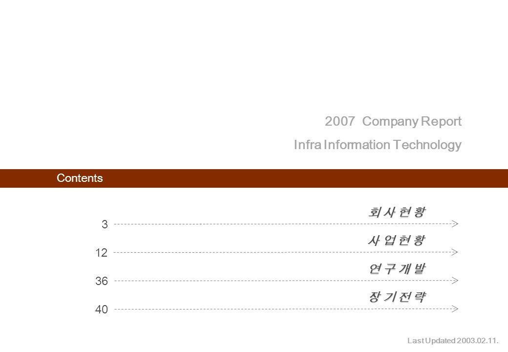 2007 Company Report Infra Information Technology 2 Contents 3 회 사 현 황회 사 현 황회 사 현 황회 사 현 황 12 사 업 현 황사 업 현 황사 업 현 황사 업 현 황 36 연 구 개 발연 구 개 발연 구 개 발연 구 개 발 40 장 기 전 략장 기 전 략장 기 전 략장 기 전 략 2007 Company Report Infra Information Technology Last Updated