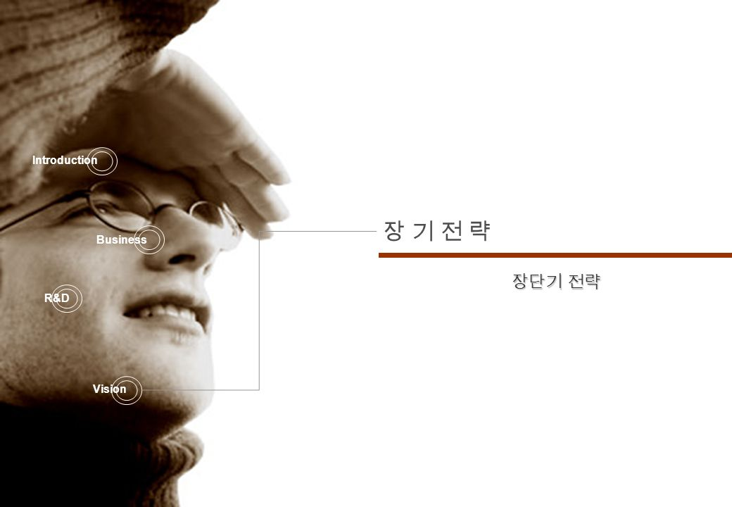 2007 Company Report Infra Information Technology 32 장 기 전 략장 기 전 략 Introduction Business R&D Vision 장단기 전략