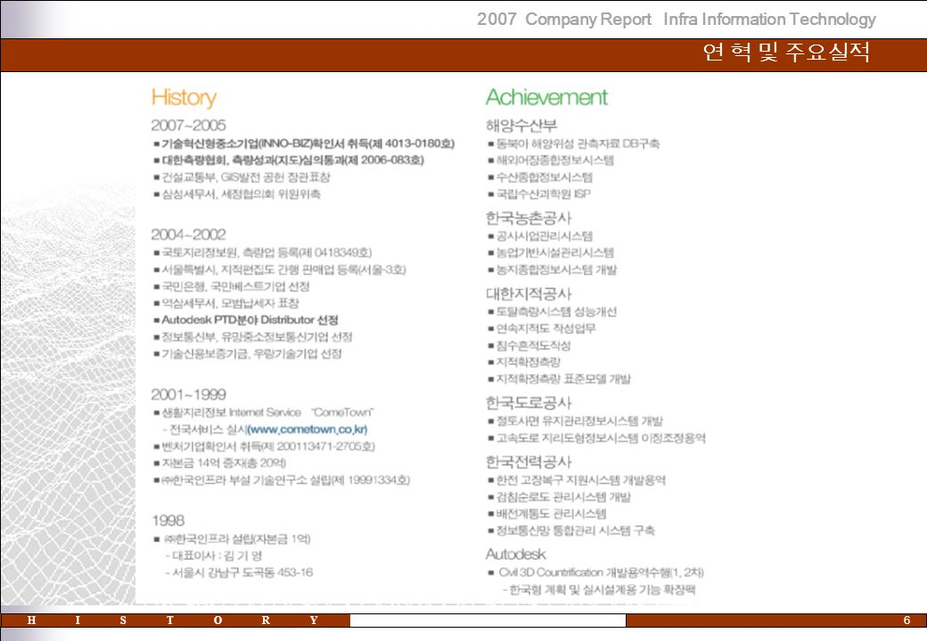 2007 Company Report Infra Information Technology 6 연 혁 및 주요실적 HISTORY