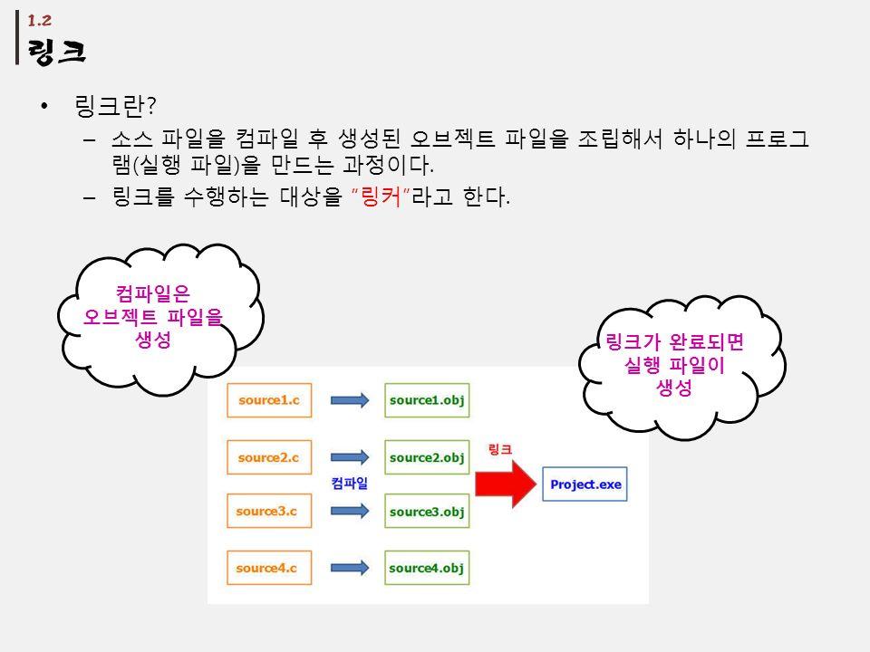 링크란 . – 소스 파일을 컴파일 후 생성된 오브젝트 파일을 조립해서 하나의 프로그 램 ( 실행 파일 ) 을 만드는 과정이다.